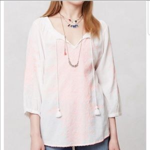 Anthropologie Maeve Boho Peasant Embroidered Top